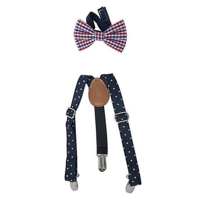 Alternate image 1 for Toby Fairy™ 2-Piece Suspender and Bow Tie Set in Navy