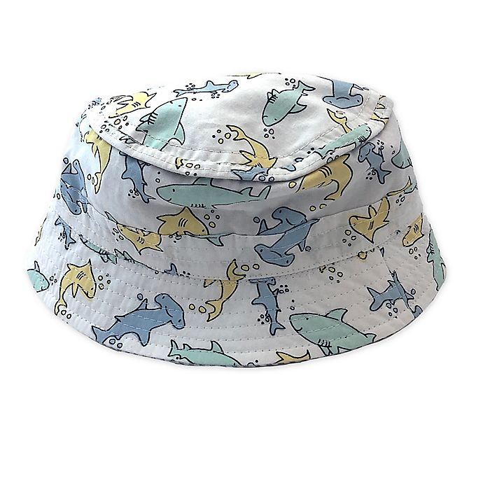 Alternate image 1 for Toby Fairy™ Shark/Seersucker Reversible Porkpie Hat in White
