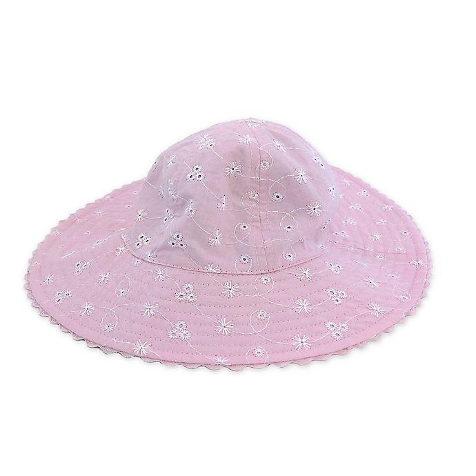Alternate image 1 for Toby Fairy™ Eyelet/Seersucker Reversible Sun Hat in Magenta