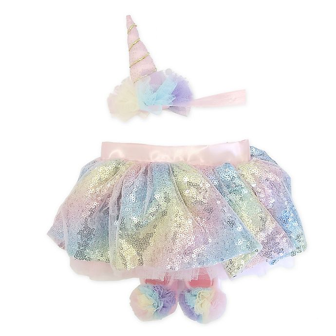Alternate image 1 for Toby Signature™ 3-Piece Rainbow Unicorn Headband, Tutu, and Bootie Set