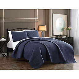 Addison Home Yardley 2-Piece Twin Quilt Set in Navy