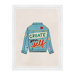 """Create Yourself"" Denim 13-Inch x 19-Inch Framed Wall Art"