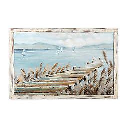 Wood Pier 3D 40-inch x 26-Inch Framed Canvas Wall Art