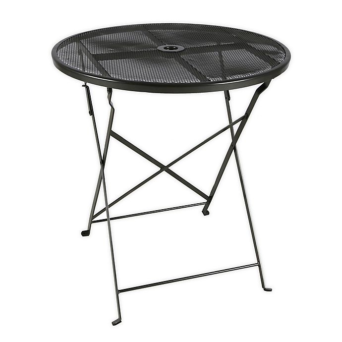 Alternate image 1 for Folding Mesh Patio Bistro Table in Black