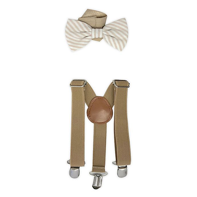 Alternate image 1 for Toby Fairy™ 2-Piece Suspender and Bow Tie Set in Sand