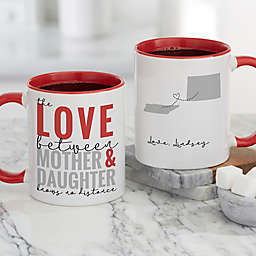 Love Knows No Distance Personalized 11 oz. Coffee Mug for Mom in Red