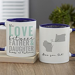 Love Knows No Distance Personalized 11 oz. Coffee Mug for Dad