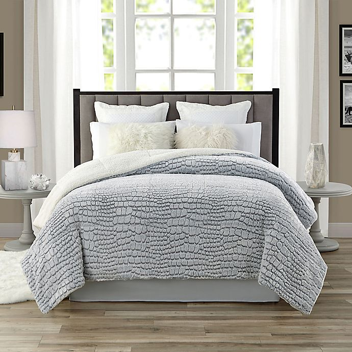 Alternate image 1 for Tahari 3D-Carved Faux Fur and Sherpa Comforter