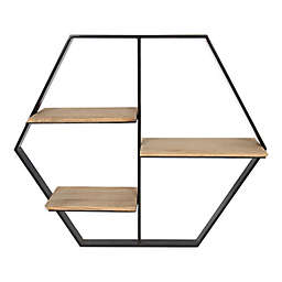 Kate and Laurel™ Ladd Hexagon Floating Accent Shelf in Black/Rustic Brown