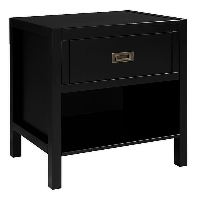 Alternate image 1 for Forest Gate 1-Drawer Solid Wood Nightstand in Black