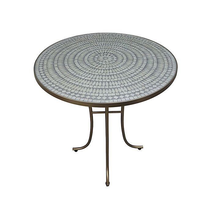 Alternate image 1 for Destination Summer Iridescent Opal Mosaic Accent Table in Grey