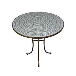 Destination Summer Iridescent Opal Mosaic Accent Table in Grey