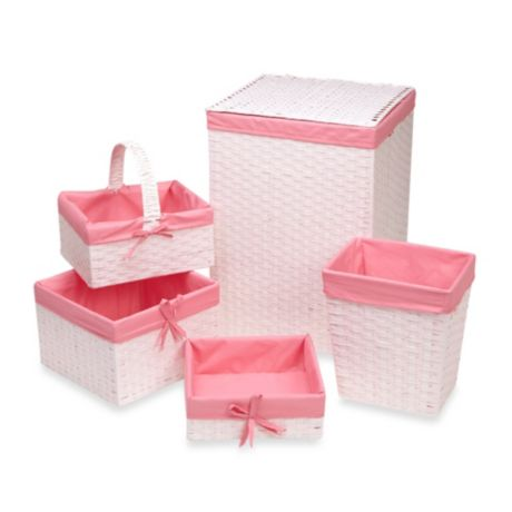 Redmon 5 Piece Hamper Set With Pink Liners In White