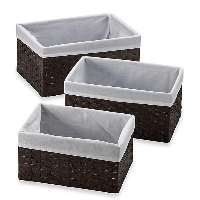 Alternate image 1 for Redmon 3-Piece Basket Storage Set with White Liners in Espresso