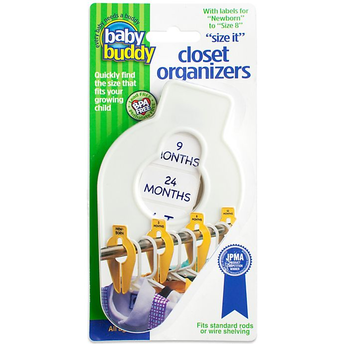 Alternate image 1 for Baby Buddy® Size-It Closet Organizers in White (Set of 5)