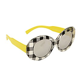 On The Verge Kids Ginham Sunglasses in Black/White/Yellow