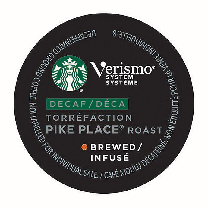 Alternate image 1 for Starbucks® Verismo® 12-Count Decaf Pike Place® Roast Brewed Coffee Pods