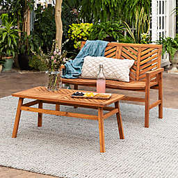 Forest Gate Olive 2-Piece Acacia Patio Chat Set in Brown