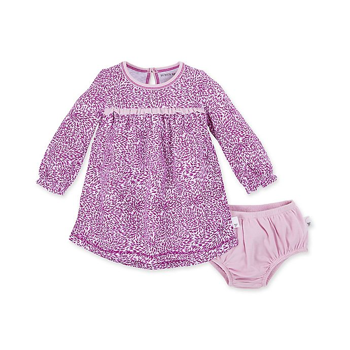 Alternate image 1 for Burt's Bees Baby® Secret Garden Long Sleeve Organic Cotton Dress with Diaper Cover