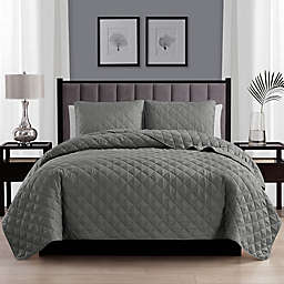 Cathay Home Home Basics 2-Piece Twin/Twin XL Quilt Set in Dark Grey