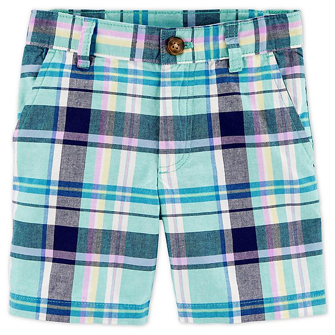 Alternate image 1 for carter's® Size 12M Plaid Flat-Front Short in Mint