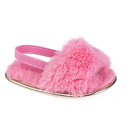 Stepping Stones Faux Fur Slipper in Coral
