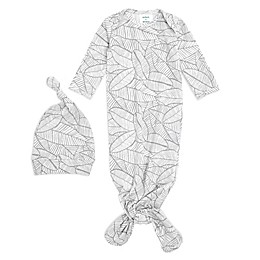 aden + anais® 2-Piece Zebraplant Comfort Knit Gown and Hat Set in White