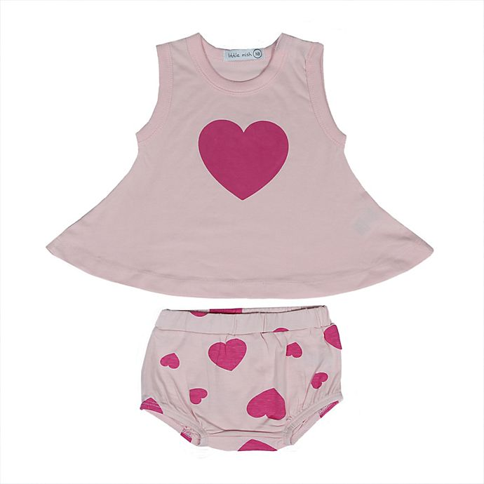 Alternate image 1 for Little Mish 2-Piece Heart Dress and Diaper Cover Set in Pink