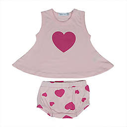 Little Mish 2-Piece Heart Dress and Diaper Cover Set in Pink