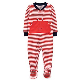 carter's® Crab Zip-Front Footed Pajama in Red Stripe
