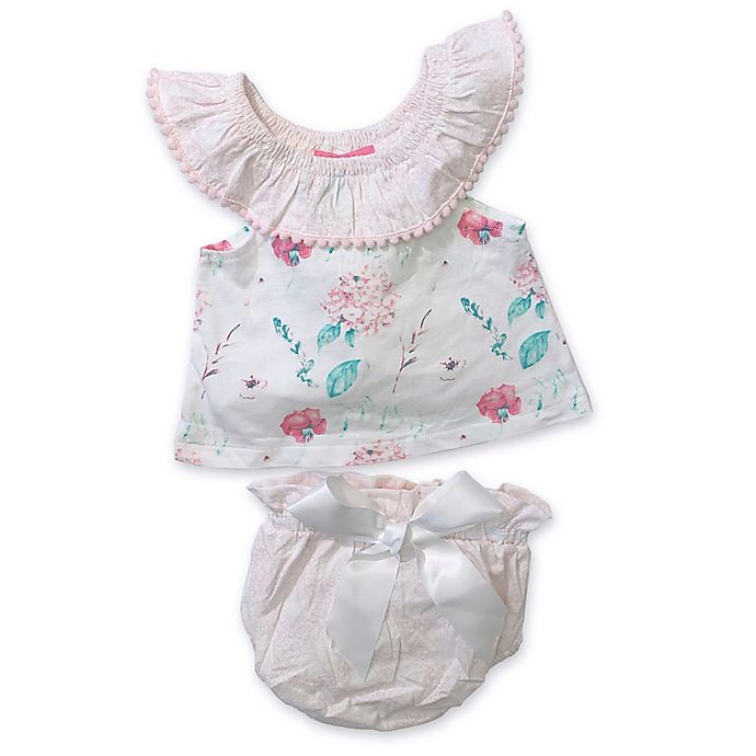 Alternate image 1 for Isaac Mizrahi 2-Piece Floral Popover Top and Diaper Cover Set in White