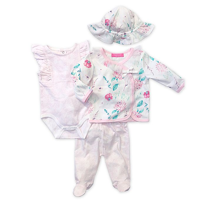Alternate image 1 for Isaac Mizrahi 4-Piece Floral Bodysuit, Pant, Cardigan, and Hat Set