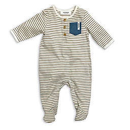 Isaac Mizrahi Striped Footed Coverall in Beige