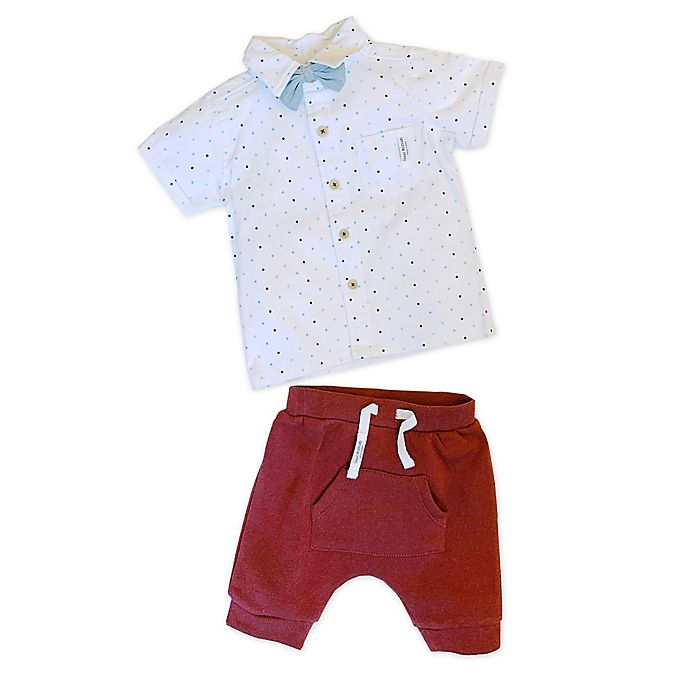 Alternate image 1 for Isaac Mizrahi 2-Piece Woven Shirt and Short Set