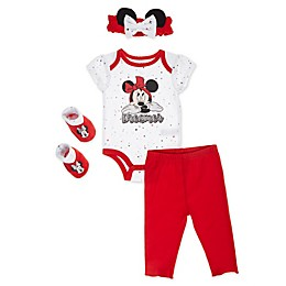 Disney Baby® 4-Piece Minnie Bodysuit, Pants, Headband and Booties Set in Red