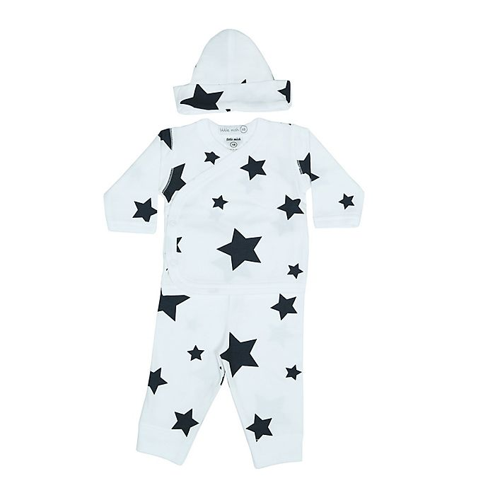 Alternate image 1 for Little Mish 2-Piece Stars Kimono Coverall and Hat Set in Blue