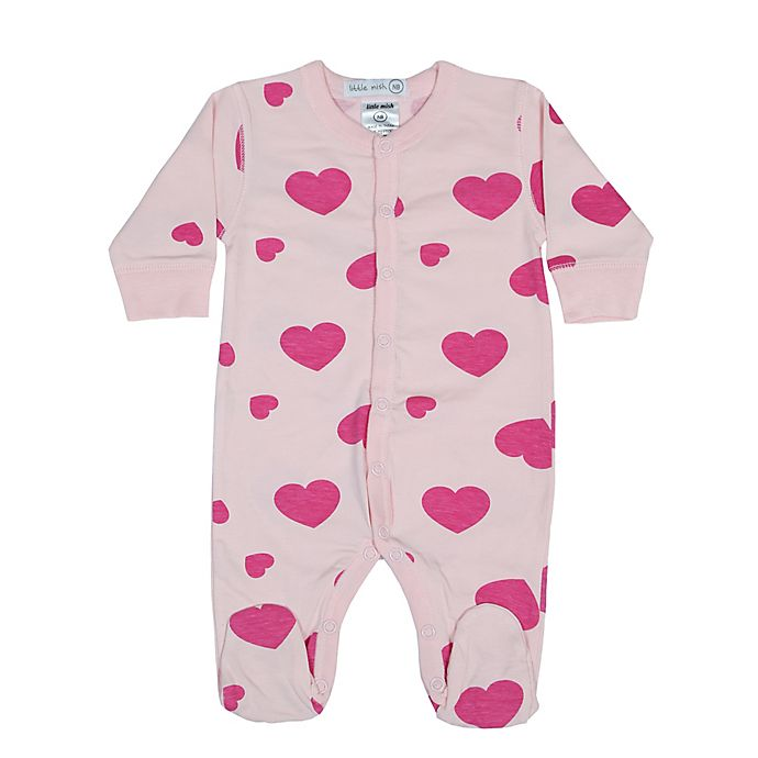 Alternate image 1 for Little Mish Hearts Footie in Pink
