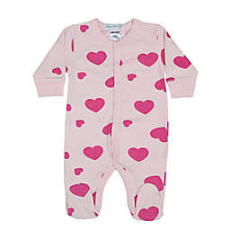 Little Mish Newborn Hearts Footie in Pink
