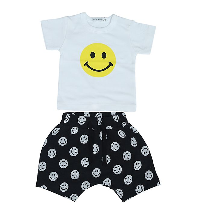 Alternate image 1 for Little Mish 2-Piece Happy Face Shirt and Short Set in Black