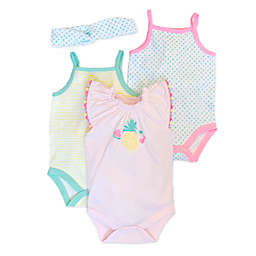 Isaac Mizrahi 4-Piece Fruit Bodysuit and Headband Set