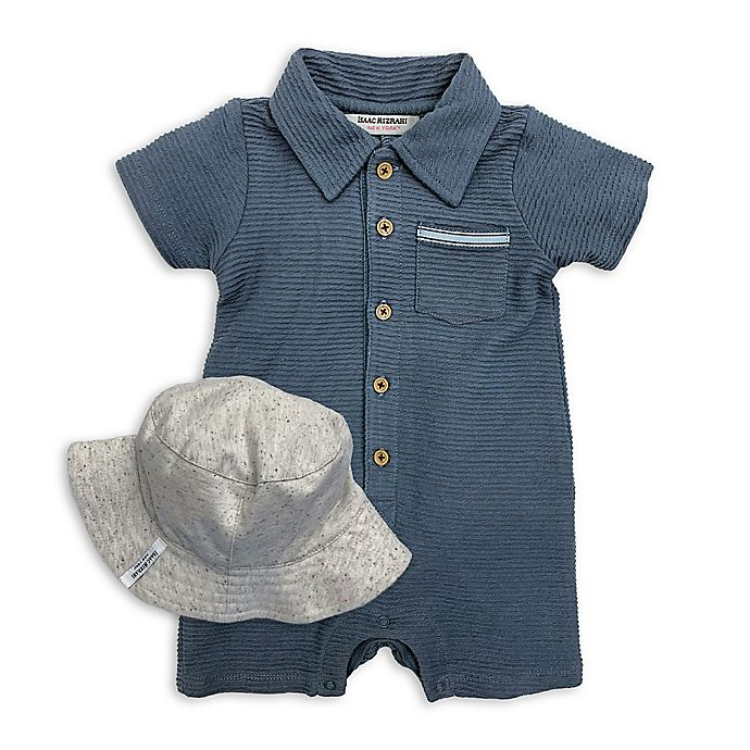 Alternate image 1 for Isaac Mizrahi 2-Piece Romper and Bucket Hat Set in Blue