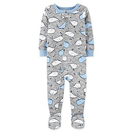 carter's® Whale Zip-Front Footie Pajama in Heather Grey