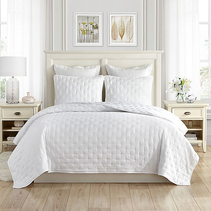 Alternate image 1 for Swift Home Classic Embroidered Dot Quilt Set