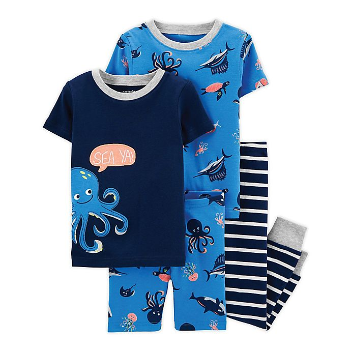 Alternate image 1 for carter's® 4-Piece Short Sleeve Pajama Top and Pant Set