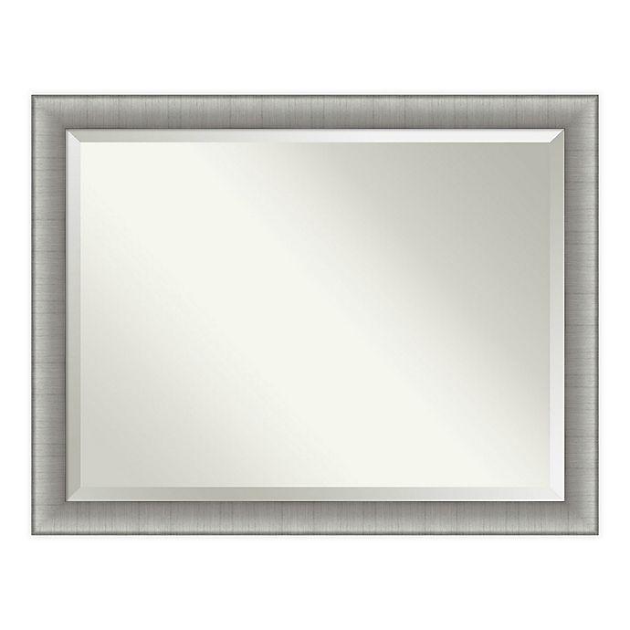 Amanti Art Elegant Brushed Pewter 45 Inch X 35 Inch Framed Bathroom Vanity Mirror In Nickel Silver Bed Bath Beyond