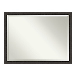 Amanti Art Rustic Plank Espresso Narrow Framed Bathroom Vanity Mirror in Brown