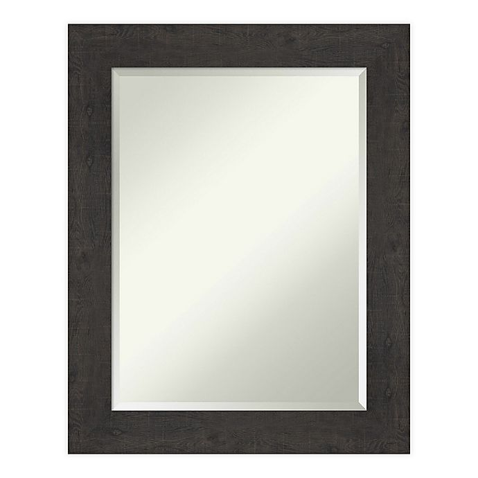 Alternate image 1 for Amanti Art Rustic Plank Espresso Framed Bathroom Vanity Mirror in Brown