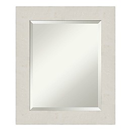 Amanti Art Rustic Plank White 21-Inch x 25-Inch Framed Bathroom Vanity Mirror in Beige