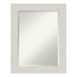 Amanti Art Rustic Plank Framed Bathroom Vanity Mirror in White/Beige