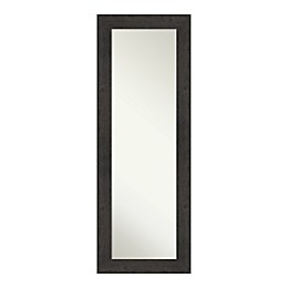Amanti Art Rustic Plank Espresso Framed On the Door Mirror in Brown